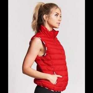 NWT Forever 21 Active Train Piped Puffer Vest XS